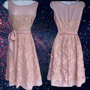 Julian Taylor Blush Lace Flare Cocktail Dress Sz S